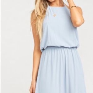 Heather Halter Dress Steel Blue Chiffon